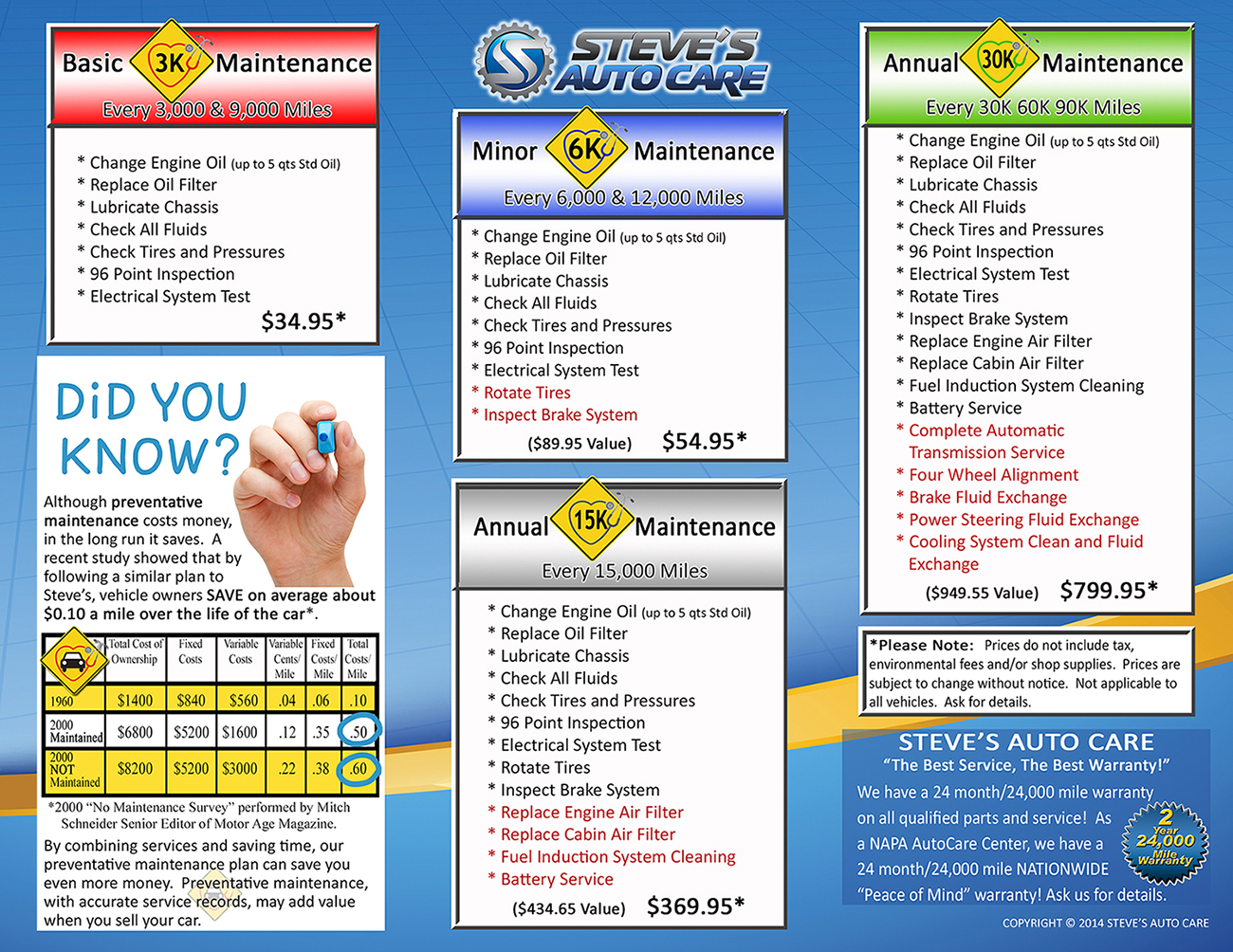 vehicle maintenance service savings warsaw, in